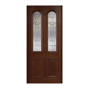 Main Door Mahogany Type Prefinished Antique Beveled Brass Twin Arch Glass Solid Wood Entry Door Slab SH 552 ATQ B