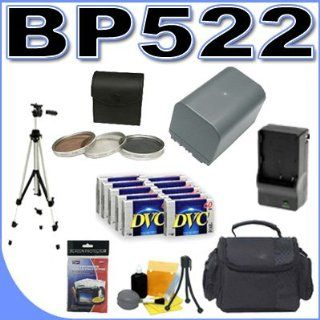 BP 522 Long Life Lithium Ion Replacement Battery BigVALUEInc Accessory Saver Bundle for Canon ZR60 ZR80 ZR85 ZR90 Camcorders 30.5mm 3pc Filter Kit + 10pk MiniDV Tapes + Rapid External Charger  Mini Dv Digital Camcorders  Camera & Photo