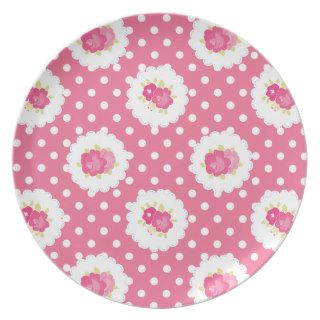 Pink Shabby Style Chic Country Dinner Plates