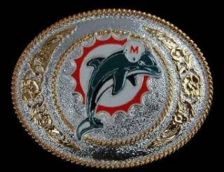 Miami Dolphins Western Style Silver/Gold Buckle Belt Buckle Clothing