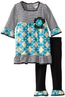 Rare Editions Girls 2 6X Toddler Mixed Print Legging Set, Black/Aqua/White, 2T: Pants Clothing Sets: Clothing