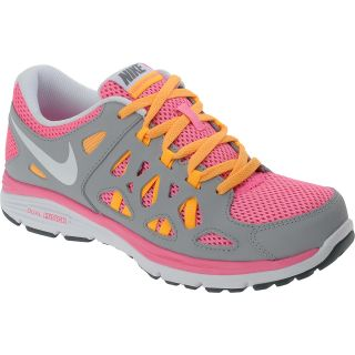 NIKE Girls Dual Fusion Run 2 GS Running Shoes   Size 5, Grey/white/pink