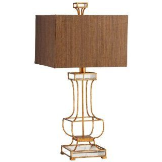 Cyan Lighting 5203 Pinkston   One Light Table Lamp, Gold Leaf Finish with Acrylic Glass with Gold Fabric/Tan Liner Shade