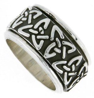 Sterling Silver Men's Spinner Ring Celtic Trinity Triquetra Pattern Handmade 1/2 inch wide,: Jewelry