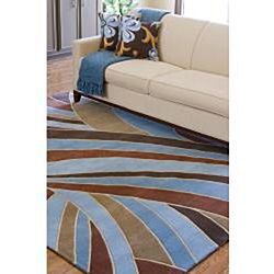 Hand tufted Contemporary Blue Striped Mayflower Wool Rug (2'6 x 8') Runner Rugs