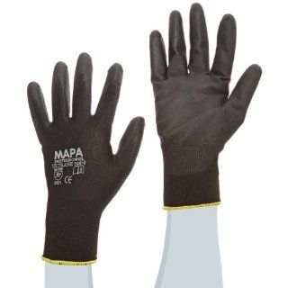 """MAPA Ultrane Lite 548 Polyurethane Palm Coated Glove, Work, 9 1/4"""" Length, Size 9, Black (Pack of 12 Pairs) Industrial & Scientific"""