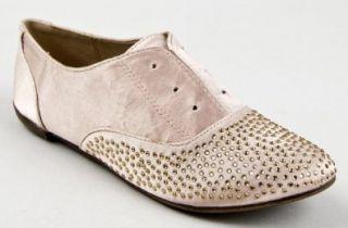 Qupid SALYA 564 Rhinestone Studded Lace Less Oxford Flat Satin Shoe Shoes
