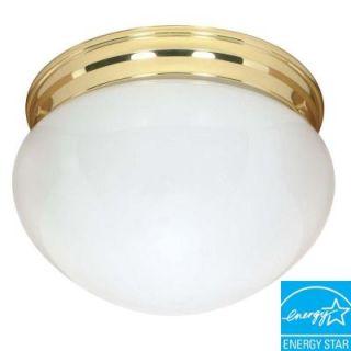 Green Matters 2 Light Flush Mount Polished Brass Large Mushroom Fixture HD 402