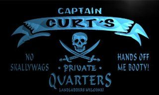 pw553 b Curt's Captain Private Quarters Skull Bar Beer Neon Light Sign   Business And Store Signs