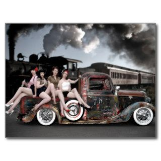 FuelFoto   Choo Choo Hot Rod Pin Up Postcard