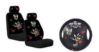 Front Low Back Car Truck SUV Tatoo Swallows Seat Covers (2), Headrest (2) & Steering Wheel Cover Manufactured By Yujean  Automotive Pet Seat Covers