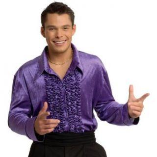 Adult Purple Velvet Disco Shirt Clothing