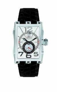 Gio Monaco Men's 581 A Mac V Rectangular Silver Dial Alligator Leather Date Watch at  Men's Watch store.