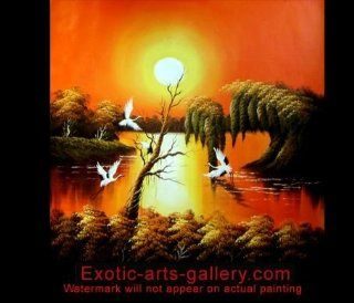 Hand Painted Framed Modern Contemporary Abstract Oil Painting on Canvas Feng Shui Love Birds 573