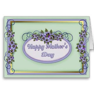Pansy Scrolls Mother's Day Greeting Cards