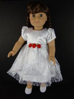 A White Party Dress with Little Red Flowers At the Waist for 18 Inch Doll Like the American Girl Dolls Toys & Games