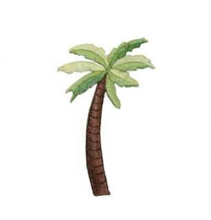 ID #1742 Palm Tree Tropical Beach Scene Embroidered Iron On Applique Patch