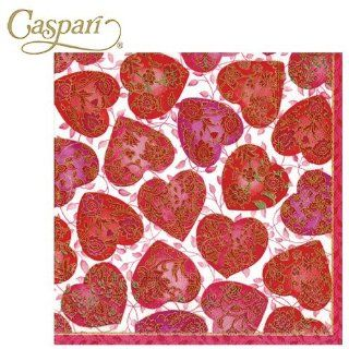 Caspari Paper Napkins 9120C Floral Hearts Cocktail Napkins: Kitchen & Dining