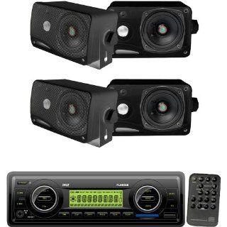 Pyle Marine Radio Receiver and Speaker Package   PLMR86B AM/FM MPX Electronic Tunning Radio w/USB/SD/MMC   2x PLMR24B 2 Pairs of 3.5'' 200 Watt 3 Way Weather / Water Proof Mini Box Speaker System  Vehicle Receivers