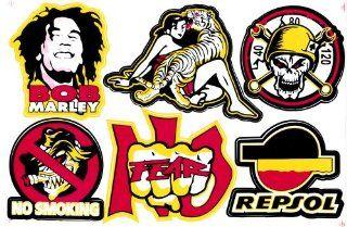 Mixed Stickers Decals Bob Marley Skull Cross No Fear Smoking Repsol Oil Bike Car ATV Racing Tuning Kit