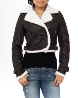 Ladies Dark Grey Shearling Motorcycle Style Jacket