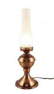 "Electric Lantern Antique Brass Table   19""   Electric Oil Lamp"