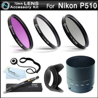 72mm Filter Kit For Nikon Coolpix P510 Digital Camera Includes Necessary Tube Adapter (72mm) + Multi Coated 3 PC Filter Kit (UV, CPL, FLD) + LensPen Cleaning Kit + Lens Cap Keeper + Microfiber Cleaning Cloth  Camera Lens Filter Sets  Camera & Photo