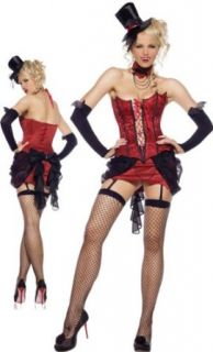 Sexy Female Vampire Costume with Corset, Garter Skirt, Neckpiece and Top Hat: Clothing
