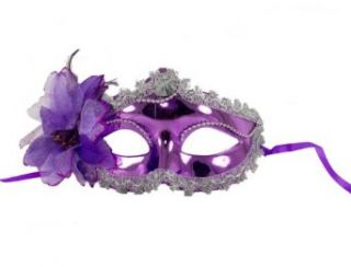 Go Chara's Halloween Women's Masquerade Ball Glossy Mask One Size Purple Flower Rose Costume Masks Clothing
