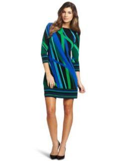 Chaus Women's Boat Neck Modern Rays Dress, Aqua Pool, Large at  Women�s Clothing store:
