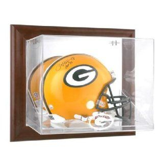 Brown Framed Wall Mounted Football Helmet Display Case with NFL Team Logo   Green Bay Packers Logo : Sports Related Display Cases : Sports & Outdoors
