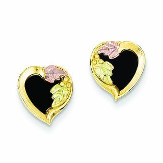 Genuine 10K Yellow Gold Black Hills Gold Onyx Heart Earrings 1.8 Grams Of Gold: Dangle Earrings: Jewelry