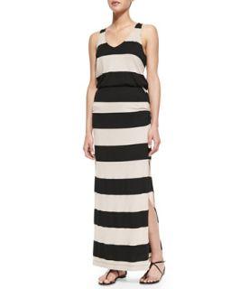 Womens Luna Lake Striped Maxi Dress, Almond/Black   Splendid