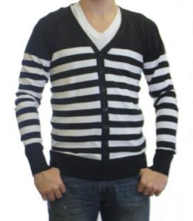 Dinamit Jeans Men's Stripe Botton Front Cardigan Sweater at  Men�s Clothing store: