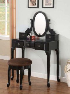 BLACK Finish VANITY TABLE SET with STOOL / Desk Wood  Home And Garden Products