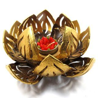 Coconut Shell Tealight Candle Holder, Lotus Flower, Large, Natural Colored   Tea Light Holders