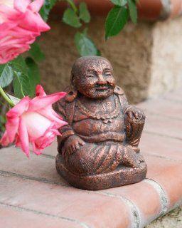 Cast Stone Bronze Laughing Buddha Statue Sculpture   Copper Finish  Outdoor Statues  Patio, Lawn & Garden