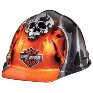 Harley Davidson HDHHAT30 High Gloss Orange Hard Hat with Skull and Flame Graphics