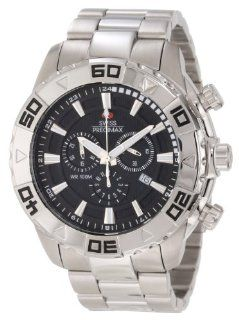 Swiss Precimax Men's SP12051 Valor Elite Black Dial with Silver Stainless Steel Band Watch Swiss Precimax Watches