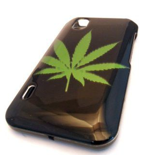 Straight Talk LG L85c Optimus Black Green Leaf Ganja Design HARD Case Skin Cover Cell Phones & Accessories