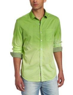 Calvin Klein Jeans Men's Dip Dye Gradiant Long Sleeve Woven, Fresh Green, Small at  Men�s Clothing store