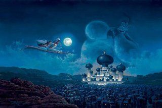 Disney Fine Art Gallery Wrapped Giclee   Sweeps Dance on the Roof Tops by Peter Ellenshaw from Mary Poppins   Prints