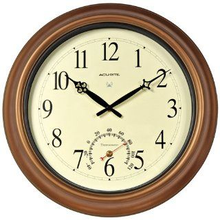 AcuRite 50314 18 Inch Copper Indoor/Outdoor Atomic Clock and Thermometer   Wall Clocks