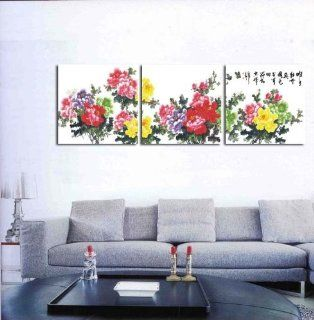 Rich peony Chinese wind of calligraphy and painting canvas modern art of three pieces