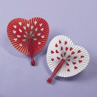 Valentines Day Folding Fans (1 dz) Toys & Games