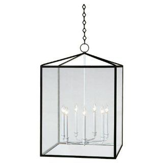 Robert Abbey BL227 Foyer/Hall Lanterns with Clear Acrylic Shades, Matte Black Powder Coat/Semi Floss White Finish   Ceiling Pendant Fixtures