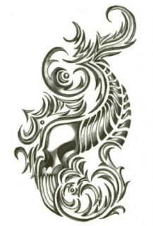 """Iron Tribal Flaming Horn Skull Temporary Body Art Tattoos 2.5"""" x 3.5"""": Apparel Accessories: Clothing"""