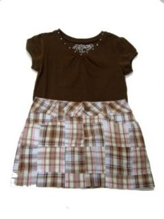 The Children's Place Girls Brown Solid V Neck Rhine Stud Tee Shirt, Size Small, 5/6 Matched with Limited Too's Girls Brown/Beige/Pink Plaid Scooter Skirt, Skort   Size 6 Regular Clothing Sets Clothing