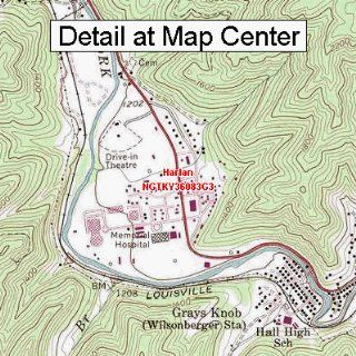 USGS Topographic Quadrangle Map   Harlan, Kentucky (Folded/Waterproof)  Outdoor Recreation Topographic Maps  Sports & Outdoors