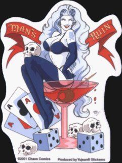 Lady Death by Chaos Comics   Man's Ruin (Martini Glass / Skulls / Dice)   Sticker / Decal Automotive